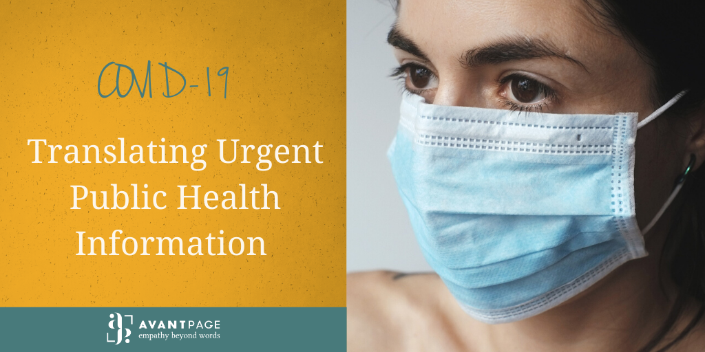 COVID-19 – Translating Urgent Public Health Information